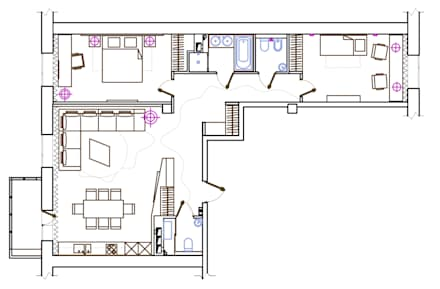 План квартиры: Окна в . Автор – ART-INTERNO