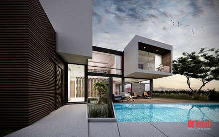 vista del jardn casas de estilo moderno por dream u diseo