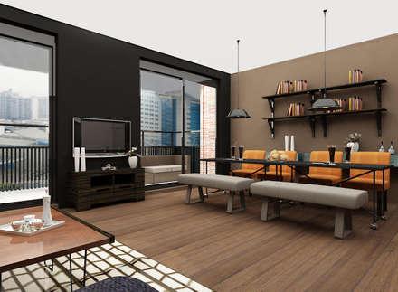 Cozy bachelor loft: industriële Eetkamer door Levenssfeer