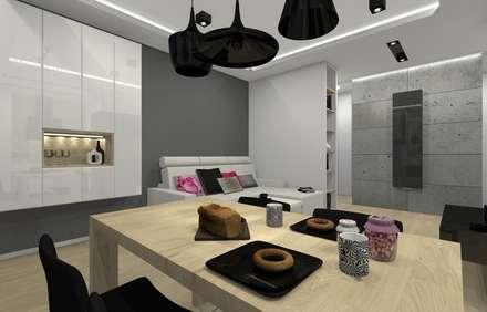 Mieszkanie prywatne - Chorzów.: styl , w kategorii Jadalnia zaprojektowany przez PR Architects Sp z o. o. Pala&Rodek