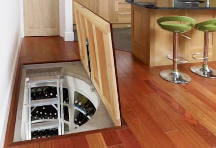 It's so professional loooking, it's hard to believe this wine cellar came as a self-build kit: modern Wine cellar by Spiral Cellars