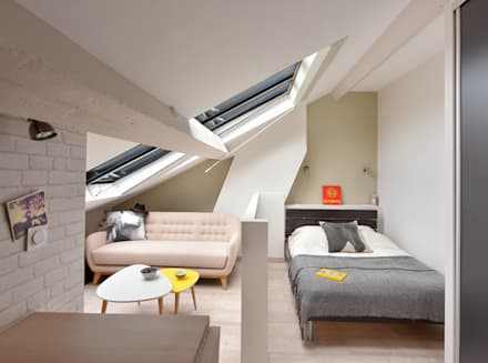 Rénovation d'un studio à Lyon 06: Chambre de style de style Moderne par Marion Lanoë Architecte d'Intérieur
