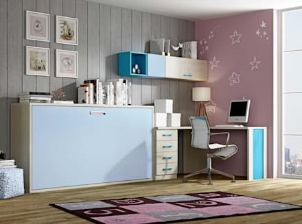 Cama abatible horizontal con escritorio: Dormitorios infantiles de estilo moderno de CREA Y DECORA MUEBLES
