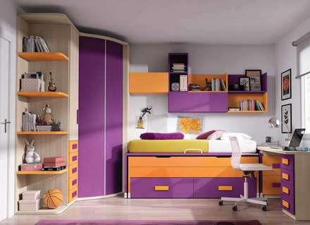 Dormitorio juvenil completo: Dormitorios infantiles de estilo moderno de CREA Y DECORA MUEBLES