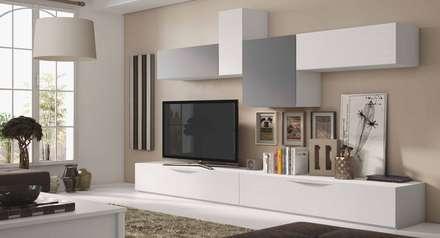 Composición de salón línea moderna: Salones de estilo moderno de CREA Y DECORA MUEBLES