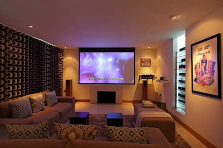 Refurbishment project West Sussex: minimalistic Media room by At No 19