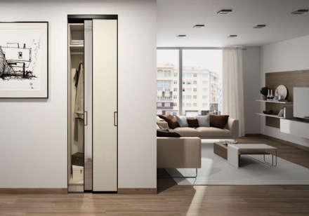 Ensemble Placard entrée sur-mesure : Rangements, Portes & Miroir: Couloir et hall d'entrée de style  par Centimetre.com