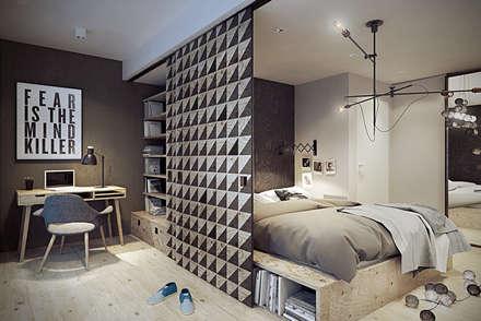 Warszawa / Praga, mieszkanie dwupoziomowe 62m2: styl , w kategorii Sypialnia zaprojektowany przez razoo-architekci