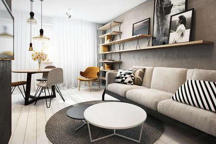 Wrocław / Maślice, mieszkanie - 43m2: styl , w kategorii Salon zaprojektowany przez razoo-architekci