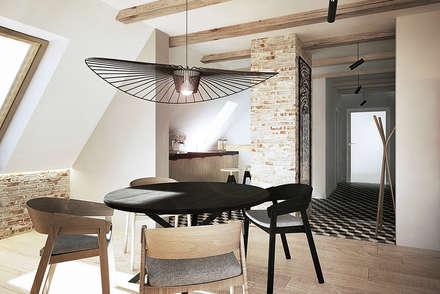 Wrocław / Gaj, poddasze dwupoziomowe - 112m2: styl , w kategorii Jadalnia zaprojektowany przez razoo-architekci