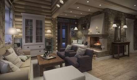 Дизайн интерьера дома в п.Зеленое: Гостиная в . Автор – MJMarchdesign