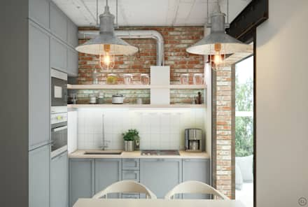Средиземноморский лофт для молодой семьи: Кухни в . Автор – Circle Line Interiors