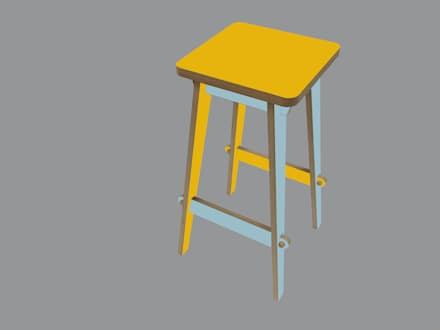 Timor Bar Stool - Yellow and Aqua Blue:  Hotels by SOAP designs