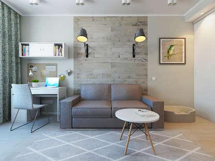 غرفة المعيشة تنفيذ Ekaterina Donde Design