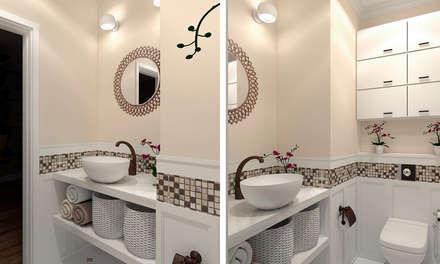 """Дизайн-проект """"Современная классика"""": Ванные комнаты в . Автор – Дизайн-студия HOLZLAB"""