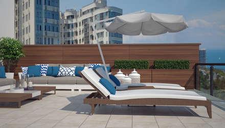 Двухуровневая квартира с видом на море: Зимние сады в . Автор – Azari Architects