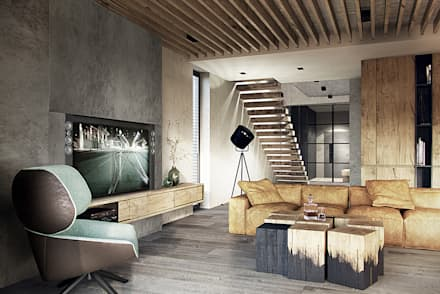 رہنے کا کمرہ  by razoo-architekci
