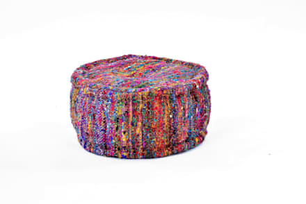 Round Chindi Ottomans Poufs:  Terrace by Natural Fibres Export