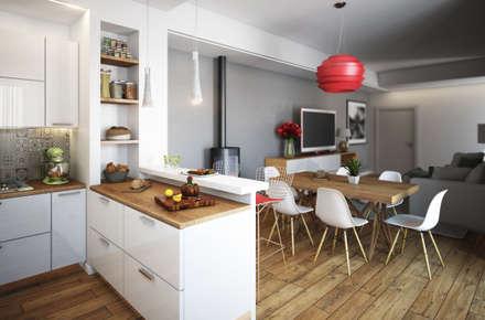 Cucina zona living: Cucina in stile in stile Moderno di Beniamino Faliti Architetto