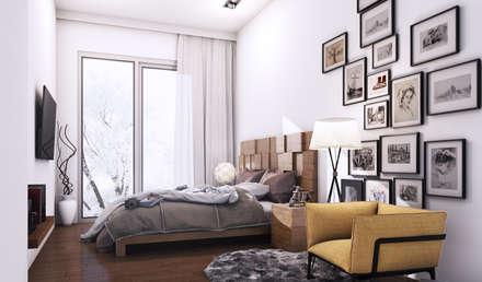 habitacion doble: Dormitorios de estilo minimalista de 2vsarq