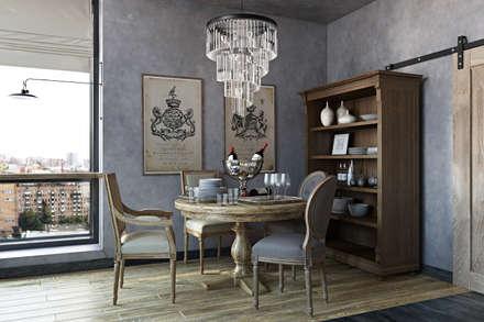 TriBeCa Лофт-Апартаменты в Москве: Столовые комнаты в . Автор – Oh, Boy! Интерьеры с мужским характером