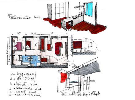 Planimetria schizzi: Studio in stile in stile Moderno di MedomStudio