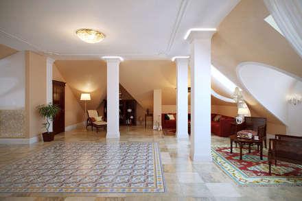 Мансардный этаж в восточном стиле: Медиа комнаты в . Автор – Студия интерьера 'SENSE'