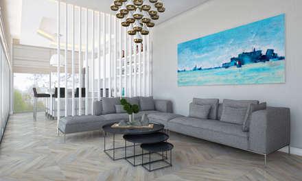 Voltaj Tasarım – Bodrum AA Evi: minimal tarz tarz Oturma Odası