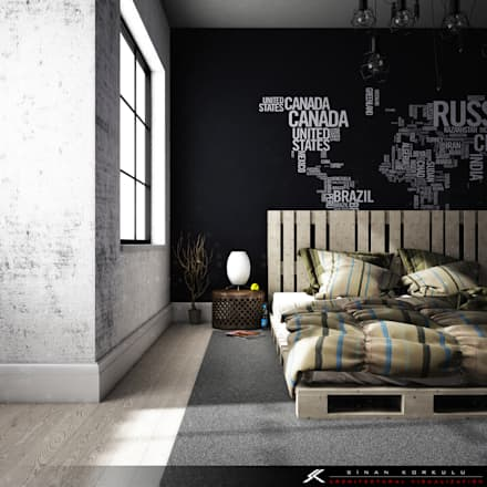 SK ARCHITECTURAL VISUALIZATION – BEDROOM: minimal tarz tarz Yatak Odası