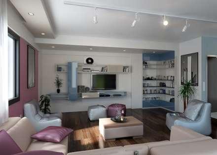 ROAS ARCHITECTURE 3D DESIGN – Living Room View: modern tarz Oturma Odası