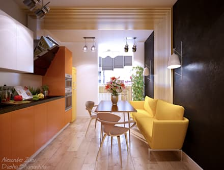 """Дизайн кухни в современном стиле в ЖК """"Панорама"""": Кухни в . Автор – Студия интерьерного дизайна happy.design"""