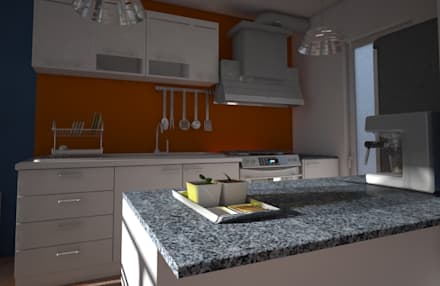 Cocina, casa Kompa-Enríquez: Cocinas de estilo moderno por Axios Arquitectos