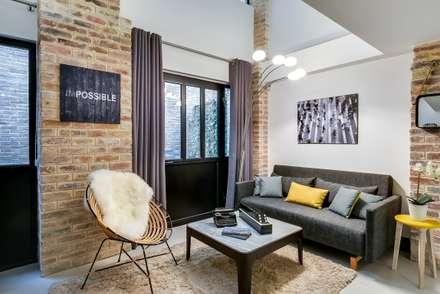 salon industriel id es inspiration homify. Black Bedroom Furniture Sets. Home Design Ideas