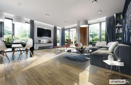 Projekt domu Simon G2 : styl , w kategorii Salon zaprojektowany przez Pracownia Projektowa ARCHIPELAG