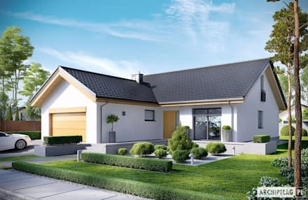 Projekt domu Simon G2 : styl nowoczesne, w kategorii Domy zaprojektowany przez Pracownia Projektowa ARCHIPELAG
