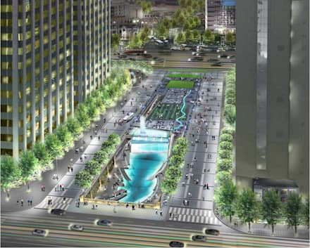CheongGye Plaza- Night variation : Seo Ahn R&D Design Group의  정원