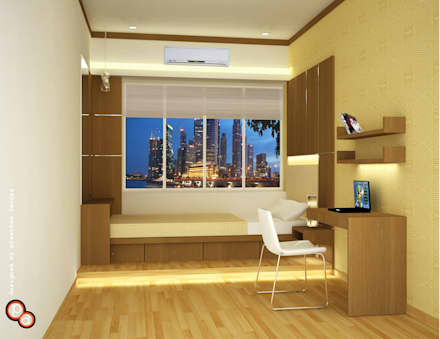 Bedroom Interiors - Small spaces: modern Bedroom by Preetham  Interior Designer