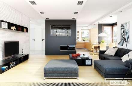 Projekt domu Mati G1 : styl , w kategorii Salon zaprojektowany przez Pracownia Projektowa ARCHIPELAG