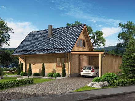 Ferienhaus Fjord mit Carport Vorderseite: rustikale Häuser von THULE Blockhaus GmbH