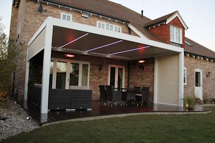 Outdoor Living Pod, Louvered Roof Patio Canopy Installation in Kent.: modern Garden by Caribbean Blinds