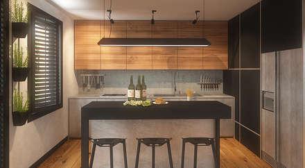 Zabudowa kuchenna - widok od strony barku: styl , w kategorii Kuchnia zaprojektowany przez FAMM DESIGN