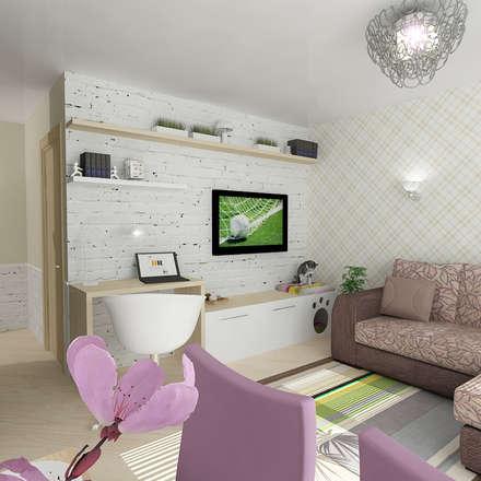 Однокомнатная квартира на улице Пушкинская: Гостиная в . Автор – Design Rules