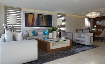 Sala Casa GL: Salas de estilo moderno por VICTORIA PLASENCIA INTERIORISMO