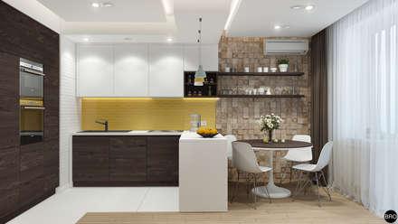 2-к квартира для молодой семьи: Столовые комнаты в . Автор – BRO Design Studio