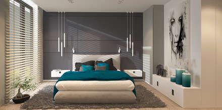 W odcieniach szarości: styl , w kategorii Sypialnia zaprojektowany przez FAMM DESIGN