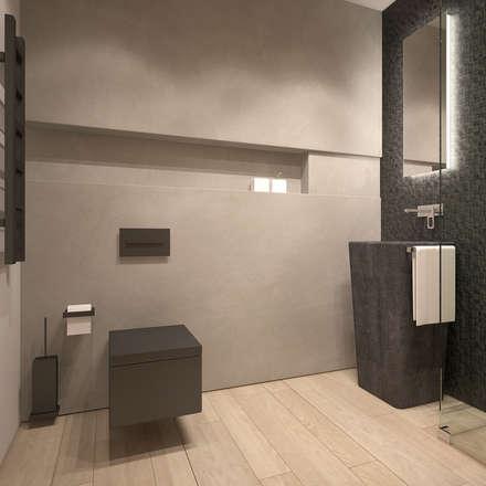 W odcieniach szarości: styl , w kategorii Łazienka zaprojektowany przez FAMM DESIGN