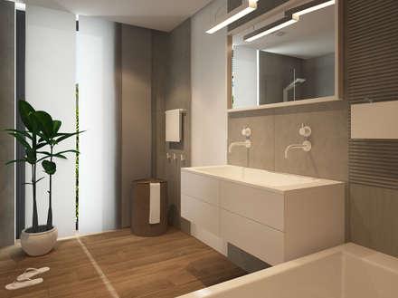 Biel, szarości i drewno: styl , w kategorii Łazienka zaprojektowany przez FAMM DESIGN