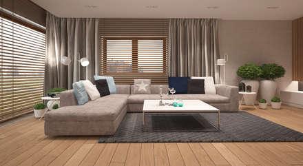 Dom w Puławach: styl , w kategorii Salon zaprojektowany przez FAMM DESIGN
