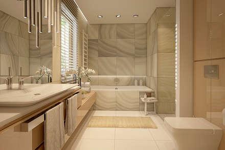 Łagodna łazienka: styl , w kategorii Łazienka zaprojektowany przez FAMM DESIGN