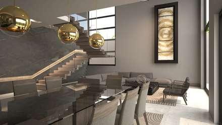 Comedor, sala y escalera.: Comedores de estilo moderno por Nova Arquitectura